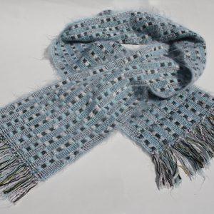 blå vit rutig sjal 1