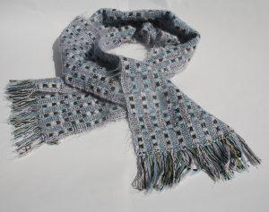 blå vit rutig sjal